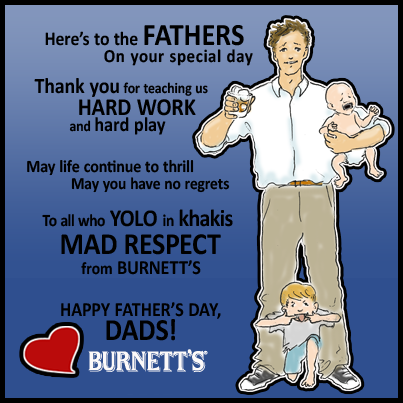 Design and Illustration for a Burnett's Vodka Facebook Father's Day Card.